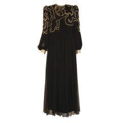 Galanos Long Black Chiffon Gown, Circa 1980's