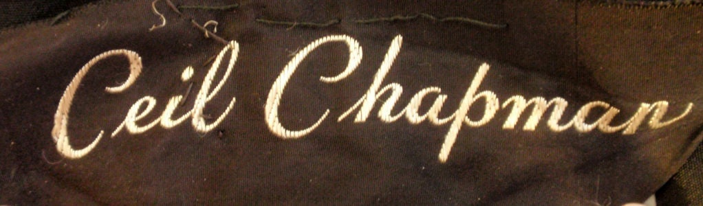 Ceil Chapman  Black Vintage Cocktail Dress, 1950 2