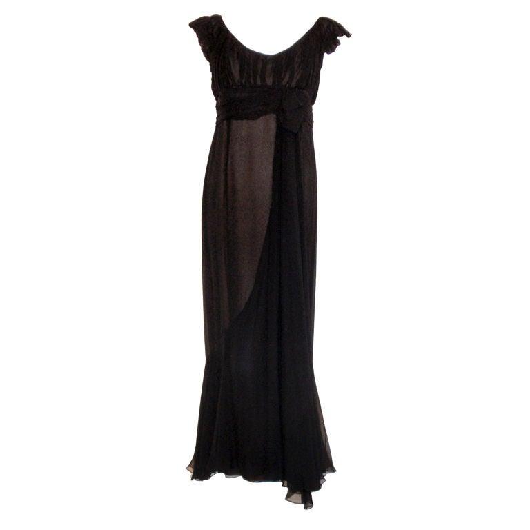 Helen Rose Black Chiffon Gown, Circa 1950's