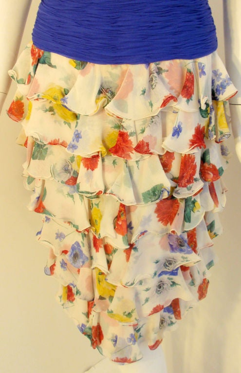 Valentino Couture Floral Silk Ruffle Cocktail Dress, Circa 1980's 8
