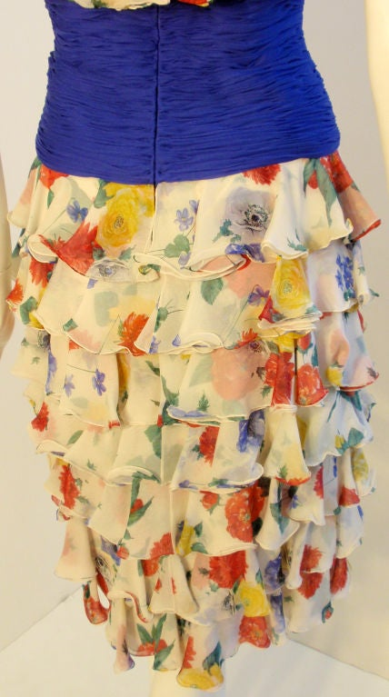 Valentino Couture Floral Silk Ruffle Cocktail Dress, Circa 1980's 9