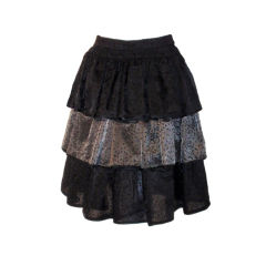 Valentino Three Tier Black and Silver Evening Skirt, Circa 1980's Size 4