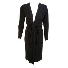 """Yves Saint Laurent """"rive gauche"""" Black Cocktail Dress, 1980"""