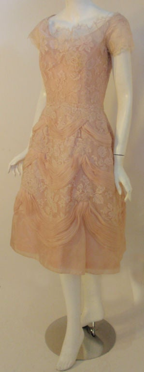 Ceil Chapman Light Pink Lace Cocktail Dress, Circa 1950 3