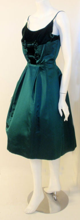 Black Oleg Cassini Emerald Satin Cocktail Dress w/Velvet, 1960 For Sale