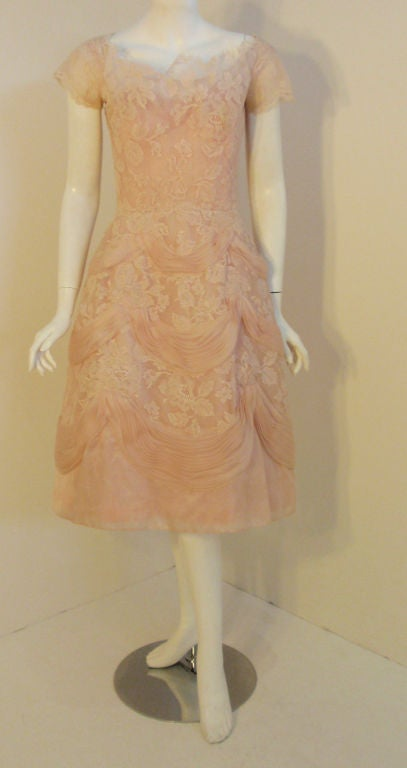 Ceil Chapman Light Pink Lace Cocktail Dress Circa 1950