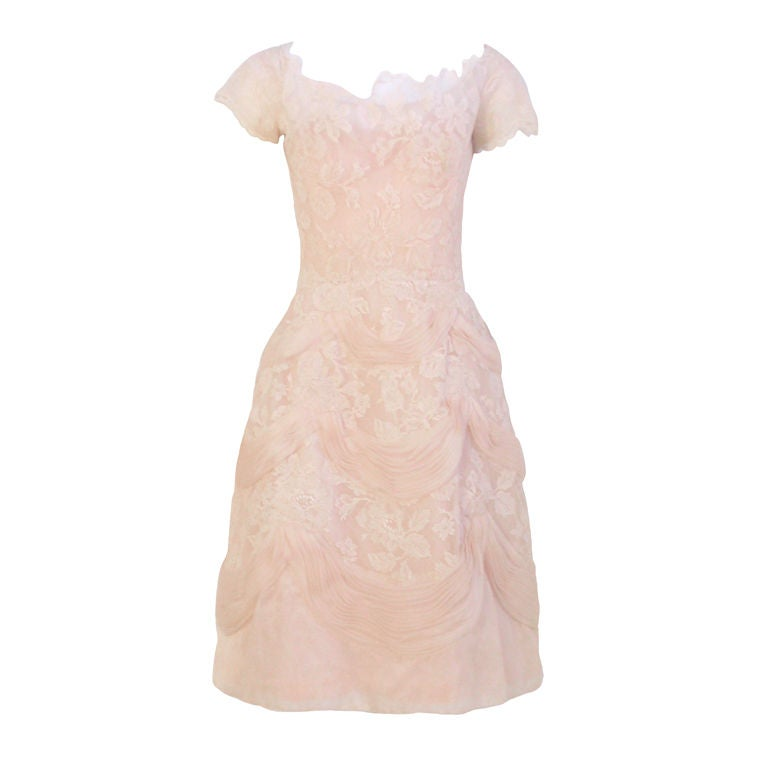 Ceil Chapman Light Pink Lace Cocktail Dress, Circa 1950