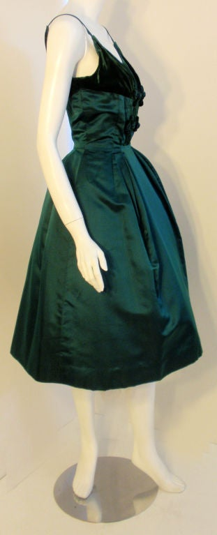 Oleg Cassini Emerald Satin Cocktail Dress w/Velvet, 1960 In Excellent Condition For Sale In Los Angeles, CA