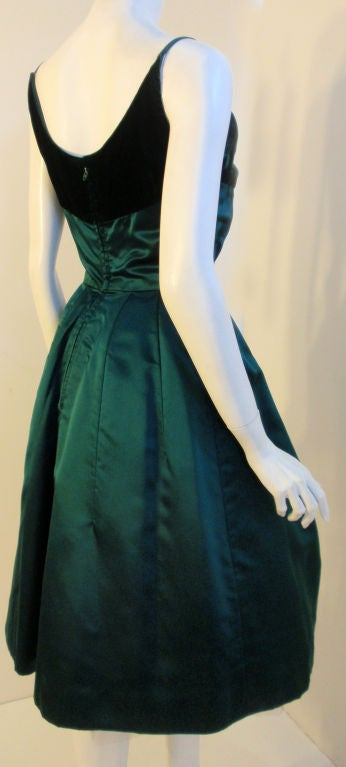 Women's Oleg Cassini Emerald Satin Cocktail Dress w/Velvet, 1960 For Sale