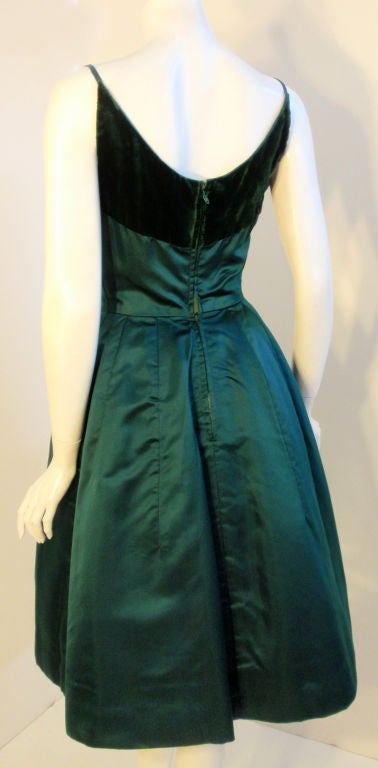 Oleg Cassini Emerald Satin Cocktail Dress w/Velvet, 1960 For Sale 1
