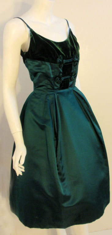 Oleg Cassini Emerald Satin Cocktail Dress w/Velvet, 1960 For Sale 2