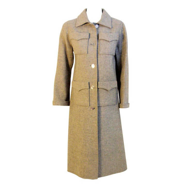 Courreges Gray Wool Coat Patch Pocket coat , 1960's Size 0