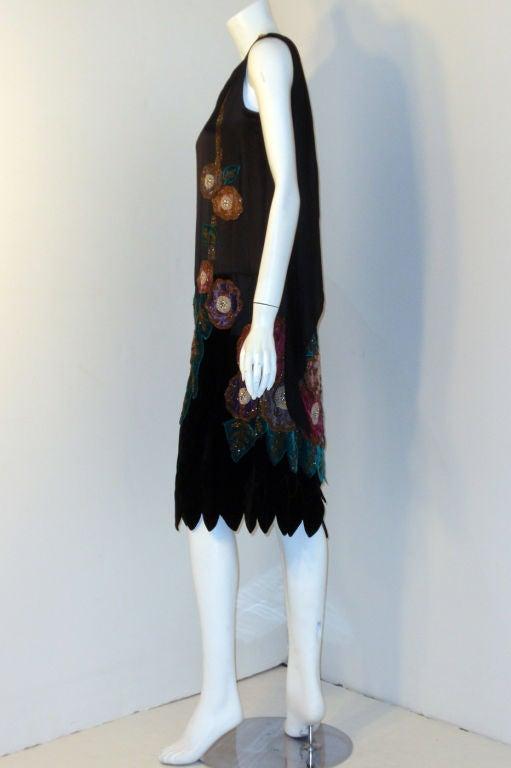 Vintage Black Beaded And Velvet Applique Dress Circa