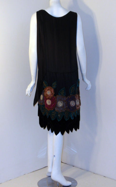 43daa35c0ba3 Vintage Black Beaded and Velvet Applique Dress, Circa 1920s In Good  Condition For Sale In