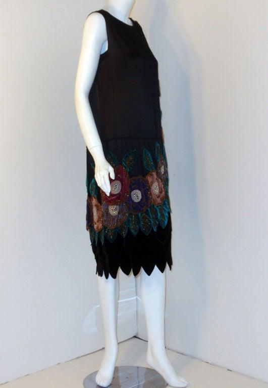 4cdb2f5553c2 Women's Vintage Black Beaded and Velvet Applique Dress, Circa 1920s For Sale