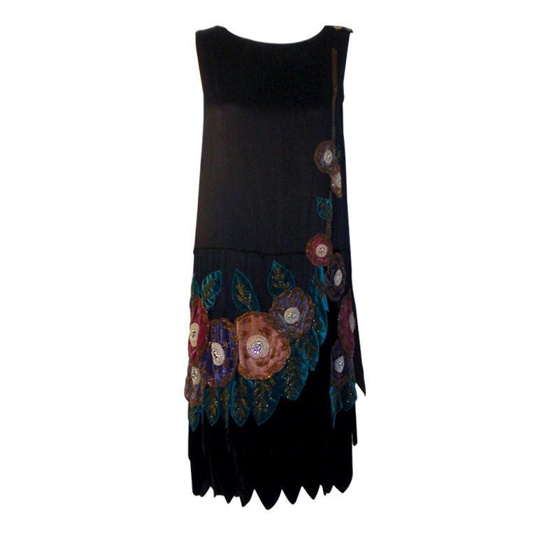 2624dc3532db Vintage Black Beaded and Velvet Applique Dress, Circa 1920s For Sale ...