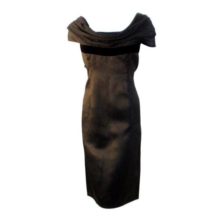 Pierre Balmain Couture Black Satin Cocktail Dress, 1960's