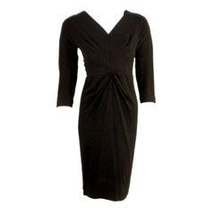 Dorothy O'hara Black Rayon Dress w/ Tuck Point Design, c 1940s