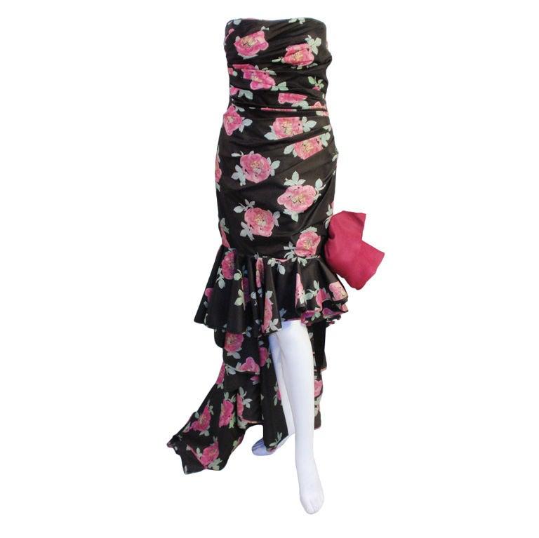 Emanuel Ungaro Black & Pink Floral Strapless Evening Gown, 1980s