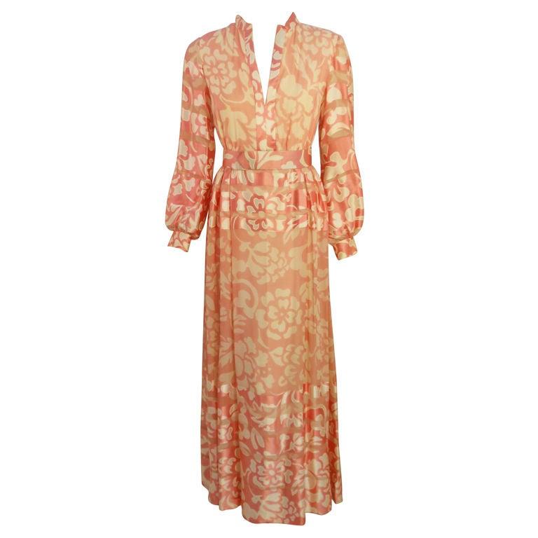 Ceil Chapman Pink and White Silk Chiffon Gown, Circa 1960's Size 6