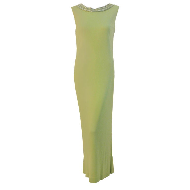 Helen Rose Lite Green Gown with Beaded Neckline & V Back, Circa 1960's