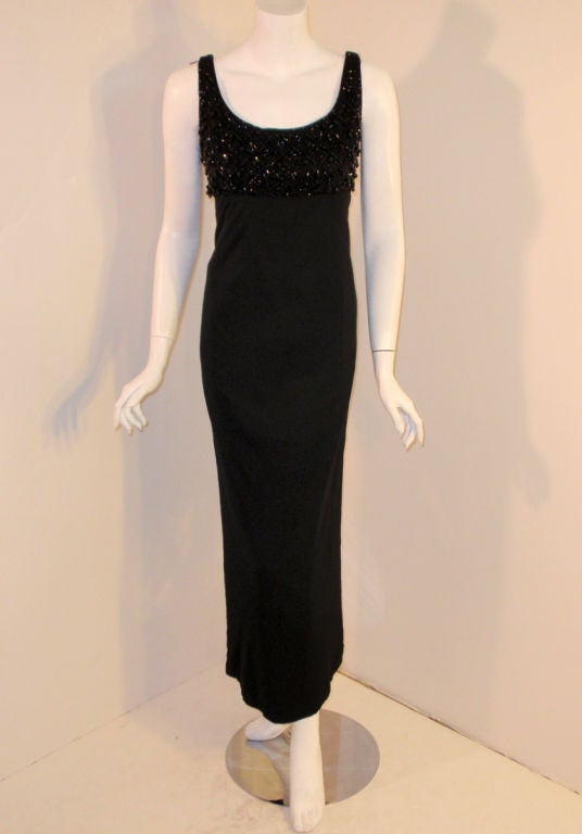 Ceil Chapman Vintage Black Empire Waist Gown With Beaded