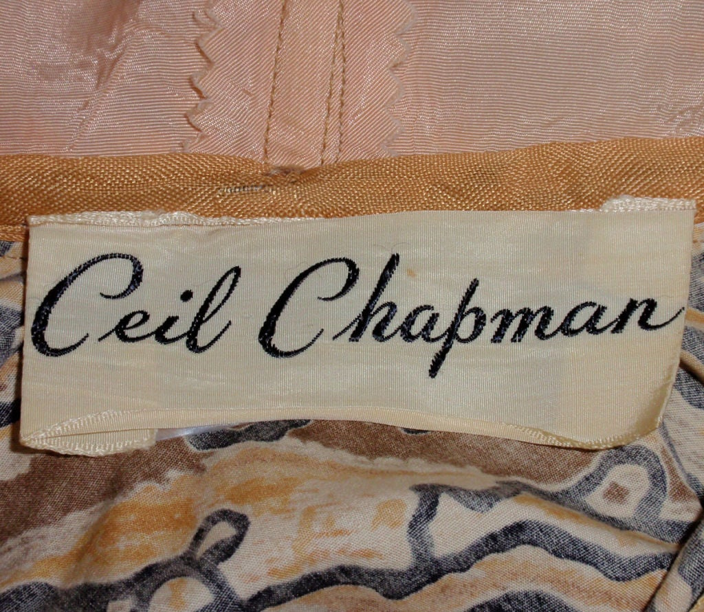Ceil Chapman Vintage 2 pc Halter Dress w/ Bolero Jacket,  c 1950 2