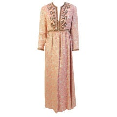 Ceil Chapman Long Pink Paisley Print Gown w/Beading, 1960's Size 8-10