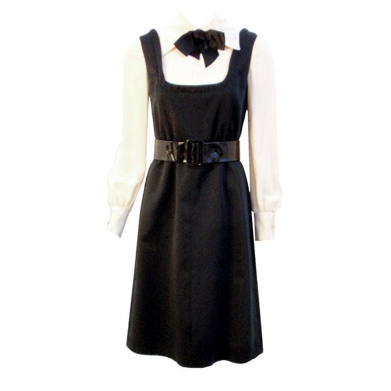 Geoffrey Beene Boutique Black and Cream Satin Dolly Dress, Circa 1960's