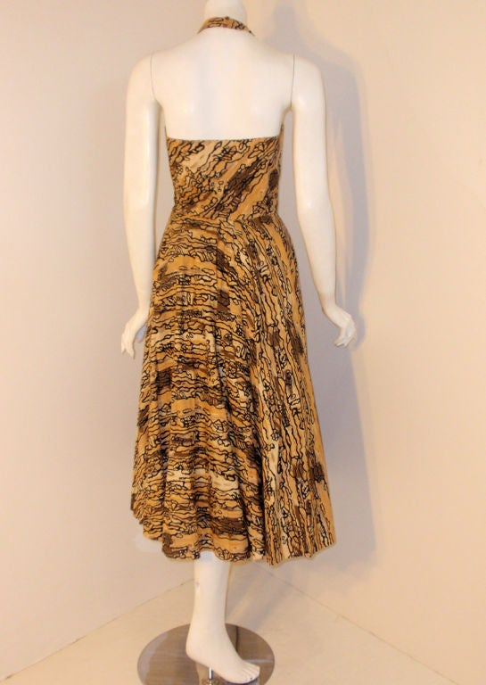 Ceil Chapman Vintage 2 pc Halter Dress w/ Bolero Jacket,  c 1950 3