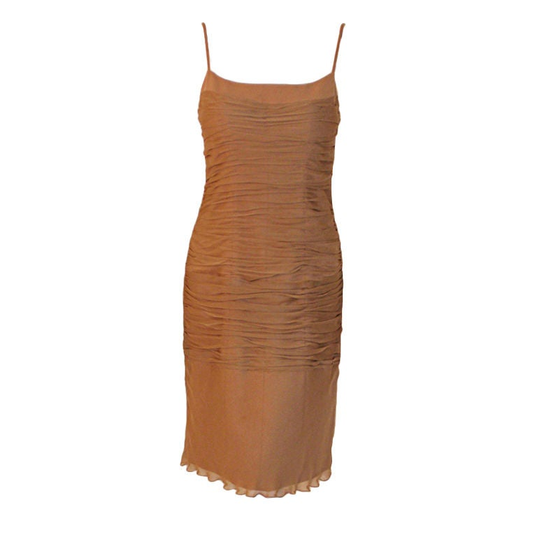 James Galanos Camel Ruched Chiffon Cocktail Dress, 1990s