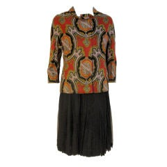 James Galanos 3 pc Skirt Suit w/ Paisley Jacket, Black vest & Chiffon Skirt