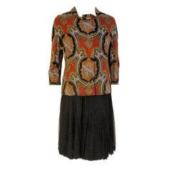 James Galanos 3 pc Skirt Suit w/ Paisley Jacket, Black vest & Chiffon Skirt