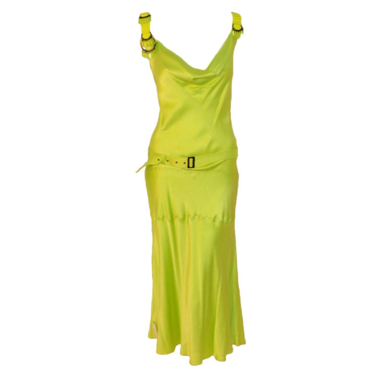 John Galiano Lime Green Silk Cocktail Dress w/ Belt and Beaded ...