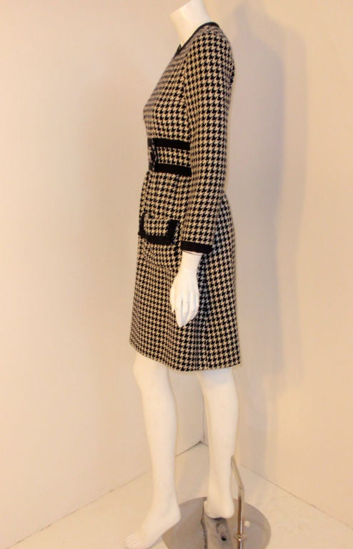 Beige JEAN PATOU Blue & White Wool Houndstooth Day dress with Front Pockets, 1960s For Sale