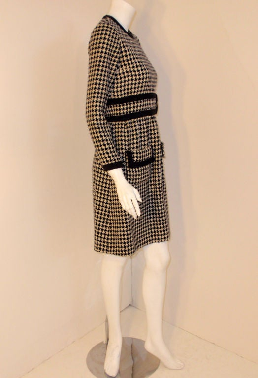 Women's JEAN PATOU Blue & White Wool Houndstooth Day dress with Front Pockets, 1960s For Sale