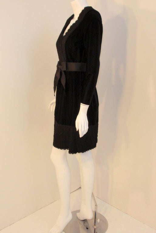 Givenchy Black Velvet and Lace Cocktail Dress w/ Bow Belt In Good Condition For Sale In Los Angeles, CA