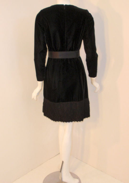 Women's Givenchy Black Velvet and Lace Cocktail Dress w/ Bow Belt For Sale