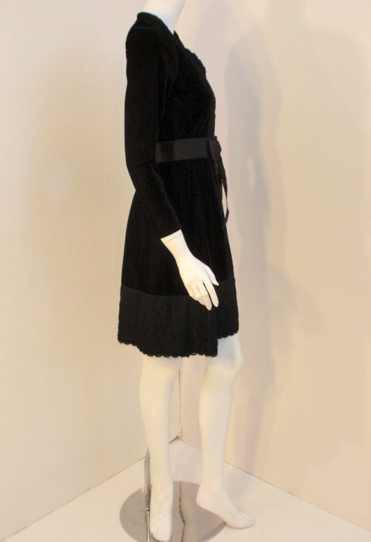Givenchy Black Velvet and Lace Cocktail Dress w/ Bow Belt For Sale 1
