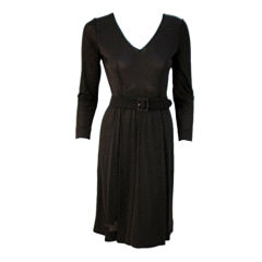 Emilio Pucci Black Long Sleeve Belted Jersey Cocktail Dress, circa 1970