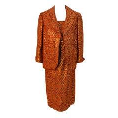 Pauline Trigere 2-piece Orange/Black/Gold Dress w/ jacket, 1960s