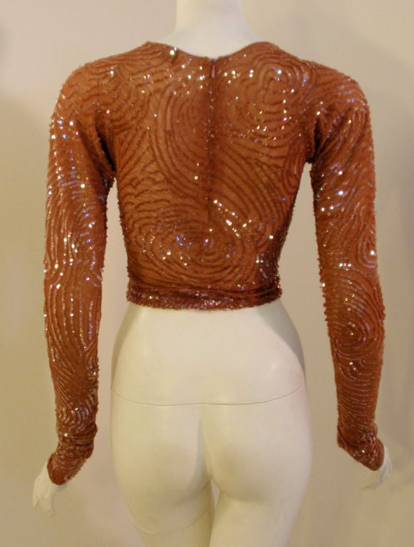 Giorgio di Sant' Angelo Copper Stretch Mesh Sequined Top, 1980's 5