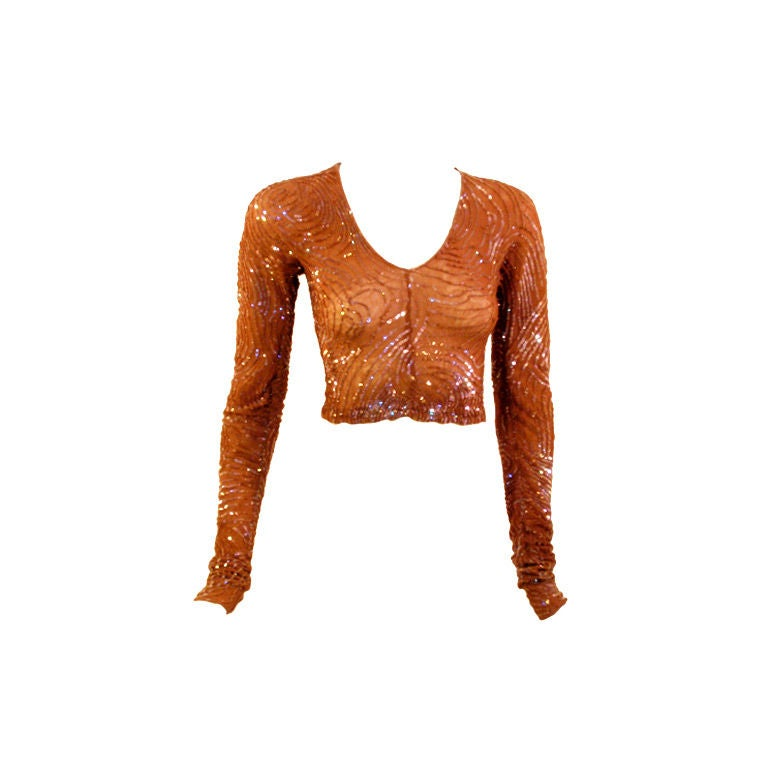 Giorgio di Sant' Angelo Copper Stretch Mesh Sequined Top, 1980's 1