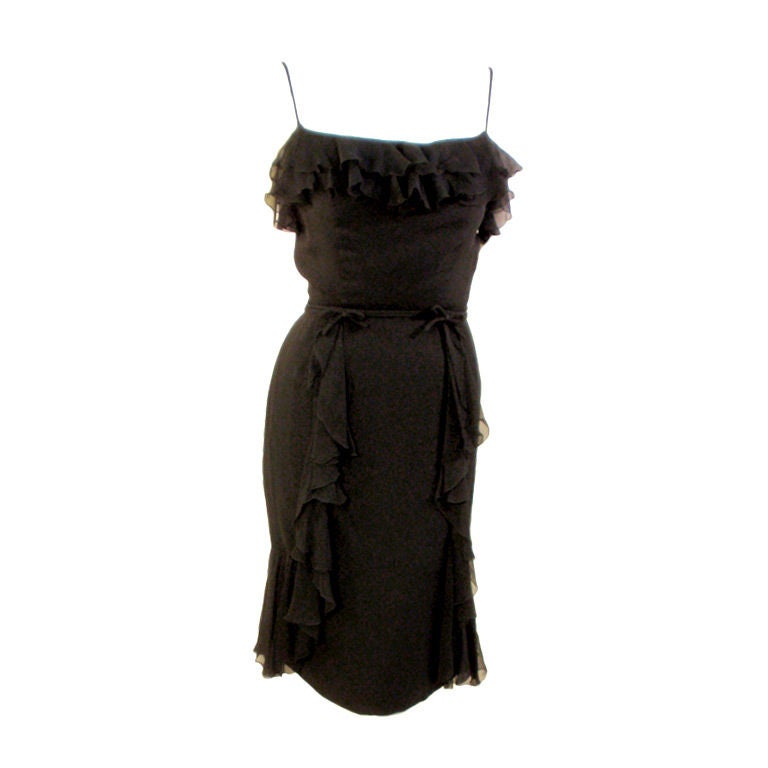 Helen Rose Vintage Black Ruffle Chiffon Cocktail Dress, 1960s