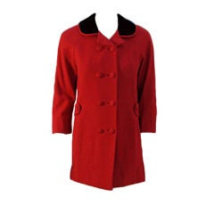 Don Loper Red Wool Coat w/ Black Velvet Collar, 1950's