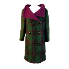 Pauline Trigere Green & Purple Plaid Wool Coat with Shawl Collar, 1960's
