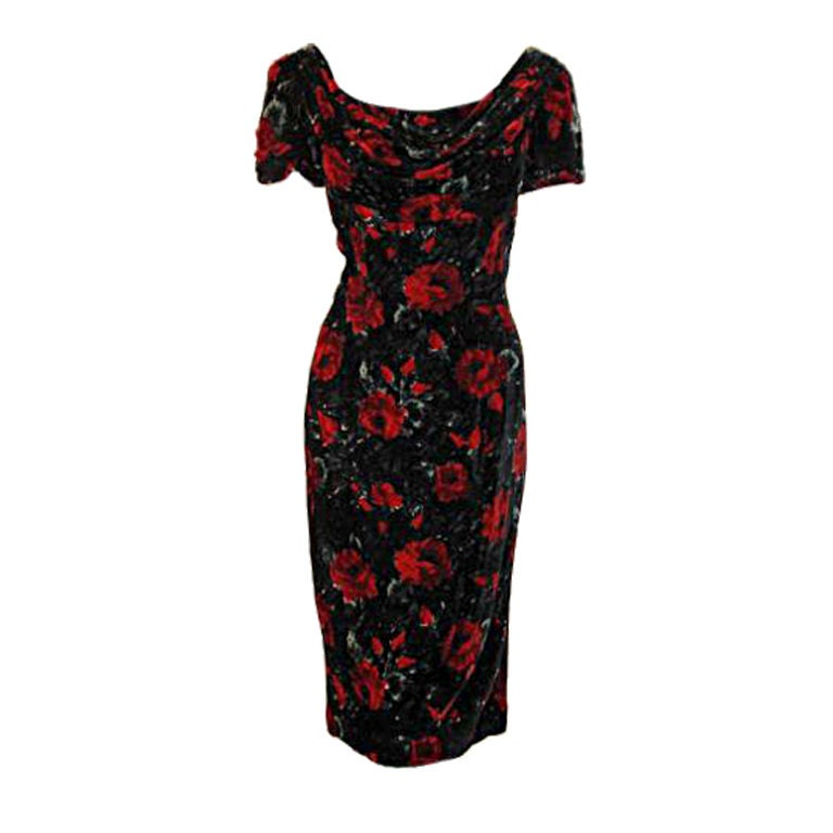 Black dress with red roses