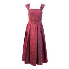 Eleanora Garnett Vintage Pink & Green Brocade Dress w/ Jkt, 50s