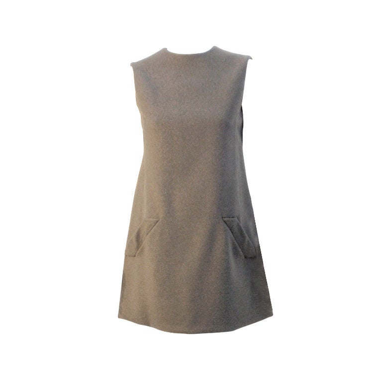 Geoffrey Beene Gray Wool Sleeveless Shift Dress Buttons down the back, 1960's