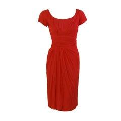 Ceil Chapman Vintage Raspberry Chiffon Cocktail dress, c 1950s Size 2